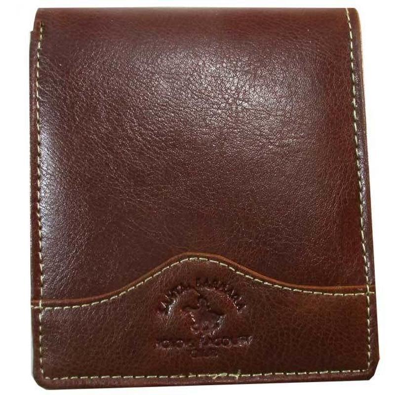 二つ折り 財布 メンズ オレンジブラウン 本革 レザー 牛革 薄型 送料無料 9041