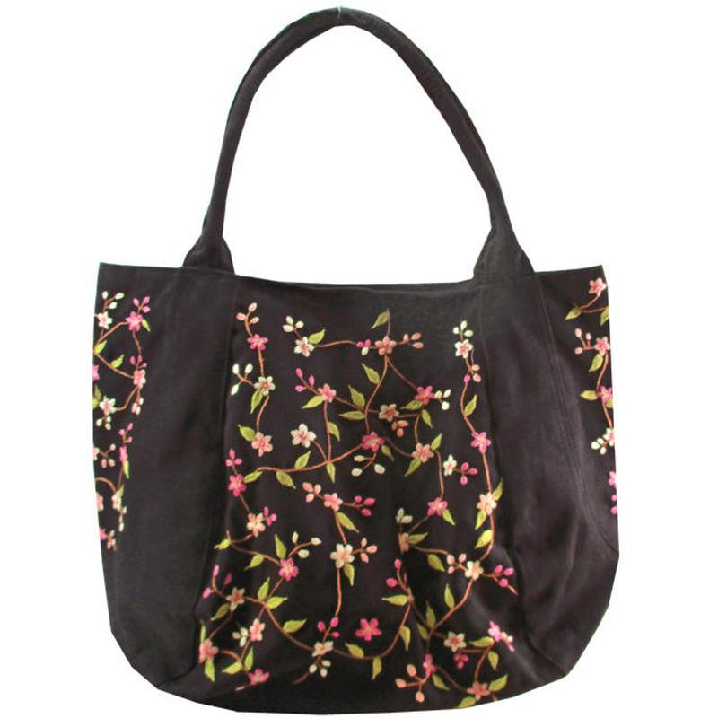 刺繍 トート バッグ ブラック 大判 ハンドメイド 花柄 送料無料 v1271