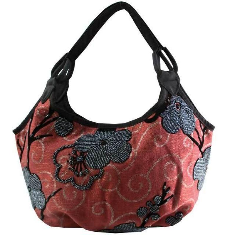 ビーズ刺繍 バッグ 花柄 フラワー レディース レンガ 布製 ベトナム v1173