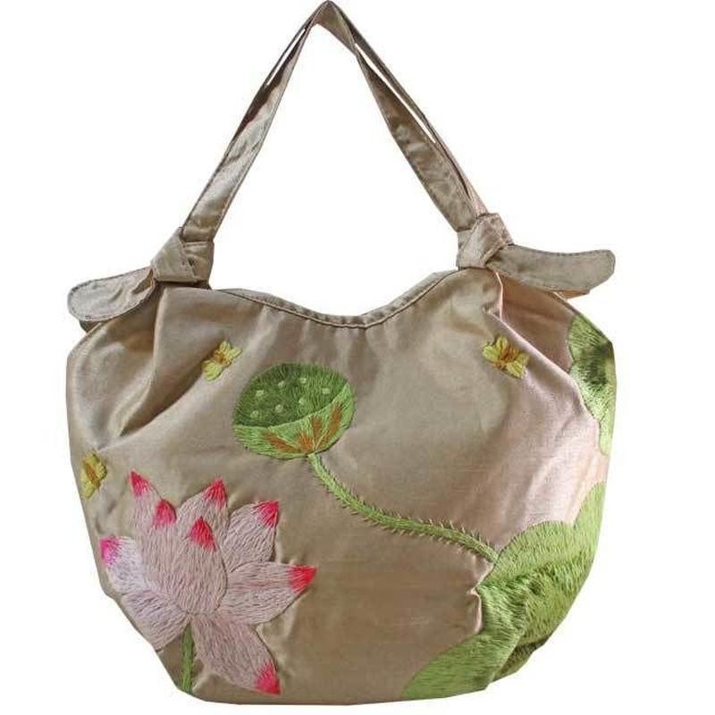 少々訳あり ハンドバッグ シャンパンベージュ ロータス 刺繍 花柄 蓮 ベトナム 雑貨 シルク v1232