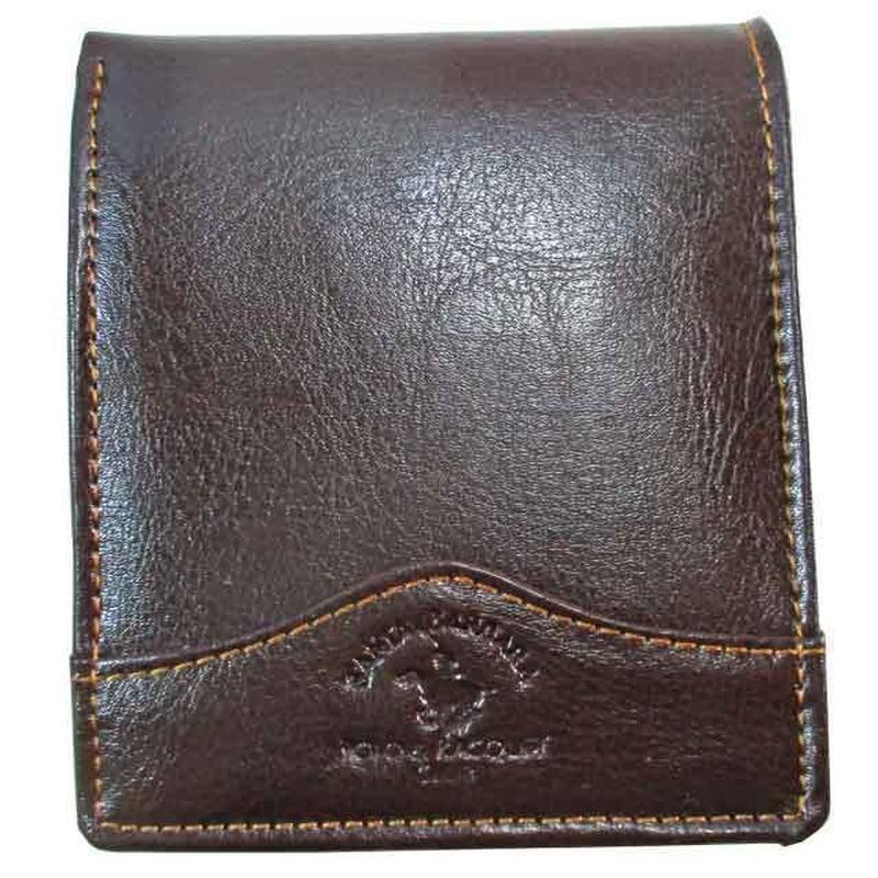 二つ折り 財布 メンズ チョコブラウン 本革 レザー 牛革 薄型 送料無料 9040