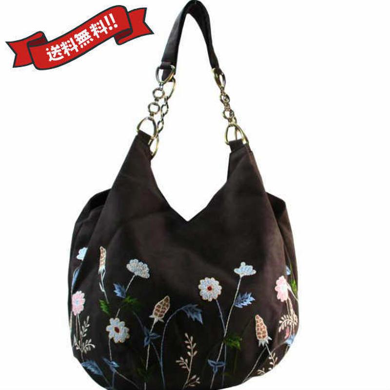 刺繍 ショルダー バッグ ブラック ベトナム 雑貨 ハンドメイド 花柄 フラワー v1197