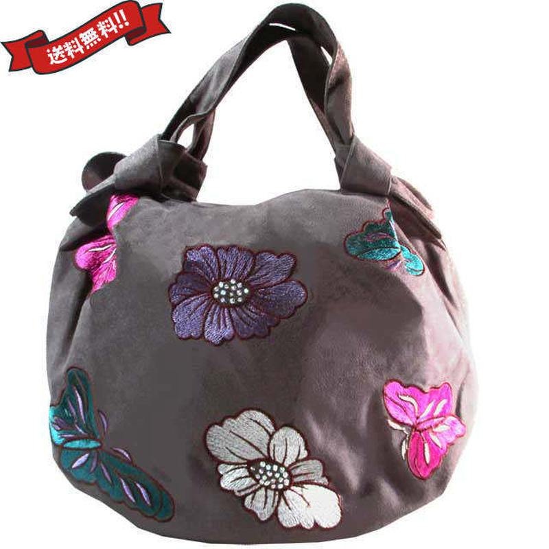 刺繍 ミニ バッグ グレーブラウン 刺繍 フラワー バタフライ 花柄 ベトナム雑貨 v1159