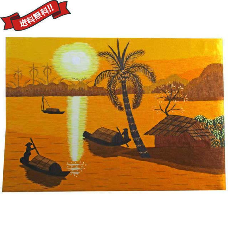 刺繍絵 アート ハンドメイド 芸術 作品 ベトナム 雑貨 サンセットビーチ vi0027