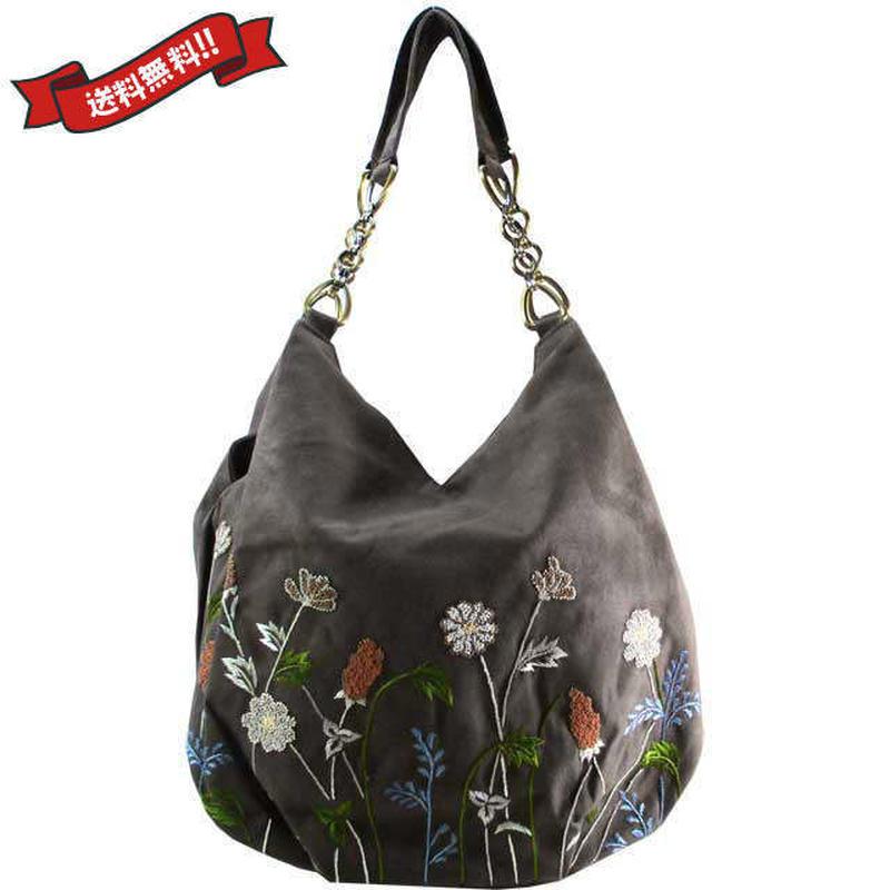 刺繍 ショルダー バッグ ブラウングレー ベトナム 雑貨 ハンドメイド 花柄 フラワー v1200