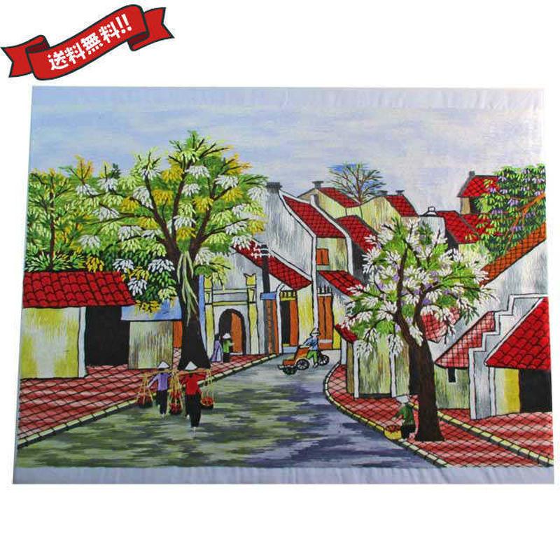 刺繍絵 アート ハンドメイド 芸術 作品 ベトナム 雑貨 ベトナムの街並み vi0020
