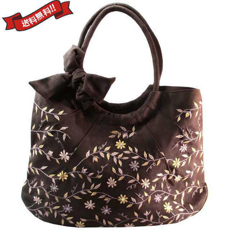 刺繍 バッグ チョコブラウン 大判 ハンドメイド 花柄 送料無料 v1265