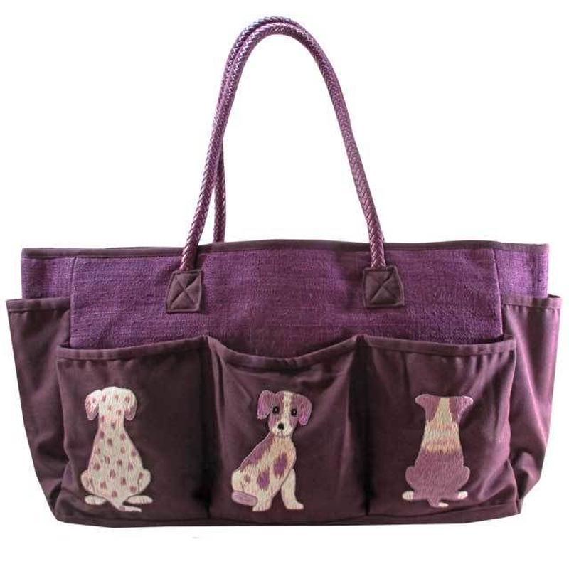 刺繍 トート バッグ パープル 大判 ハンドメイド 犬 送料無料 v1221