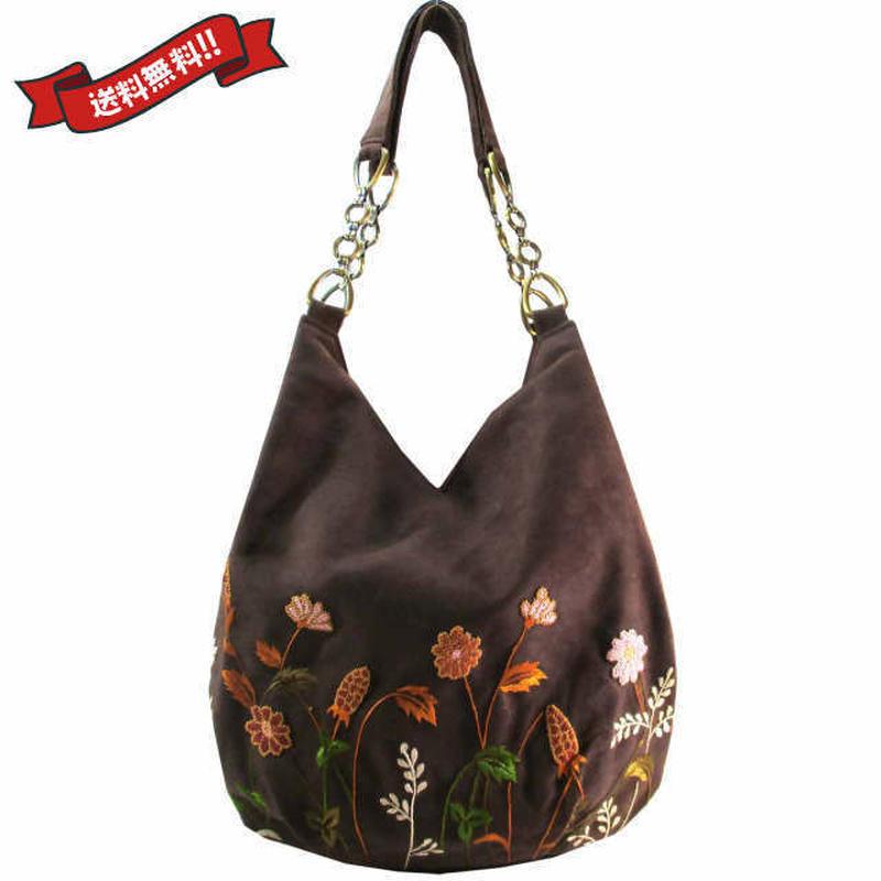 刺繍 ショルダー バッグ ブラウン ベトナム 雑貨 ハンドメイド 花柄 フラワー v1201