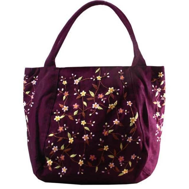 刺繍 トート バッグ ディープパープル 大判 ハンドメイド 花柄 送料無料 v1273