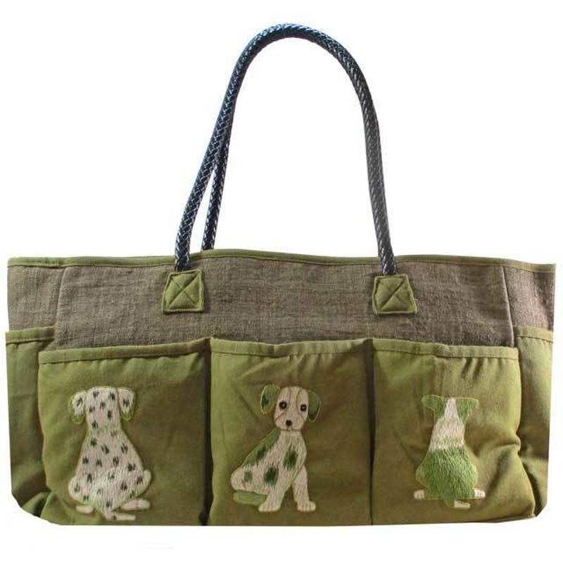 刺繍 トート バッグ グリーン 大判 ハンドメイド 犬 送料無料 v1222
