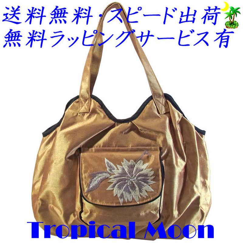刺繍 バッグ レディース ライトゴールド フラワー シルク ハンドメイド v0923