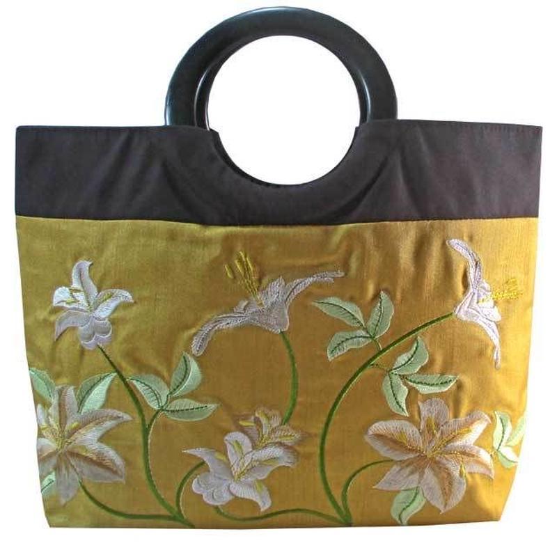 トートバッグ レディース ライトブルー 刺繍 ユリ リリー 和風 着物 花柄 デイジー ベトナム雑貨 v1176