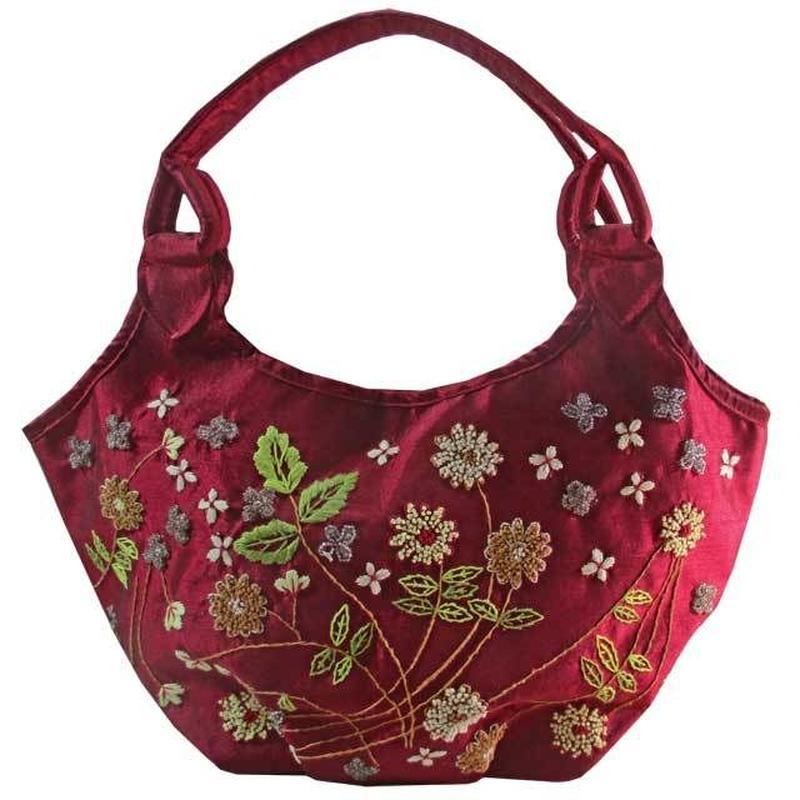 トートバッグ レディース レッド ビーズ 刺繍 花柄 デイジー ベトナム雑貨 v1211