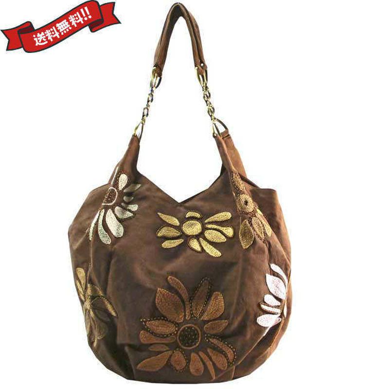 トートバッグ レディース ブラウン ビーズ 刺繍 花柄 ハンドメイド ベトナム雑貨 v1235
