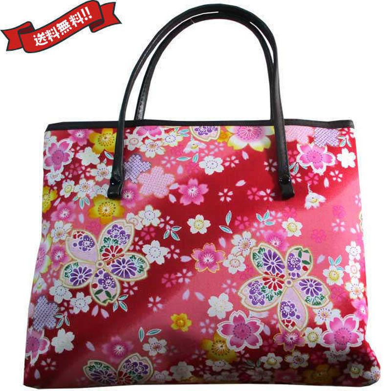 日本製 和柄 バッグ レッド ミニ 桜 花柄 送料無料 着物 浴衣 9028