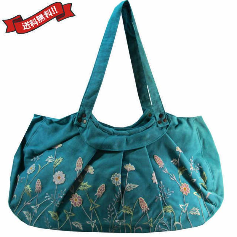 刺繍 トート バッグ ブルー 大判 ハンドメイド 花柄 送料無料 v1263