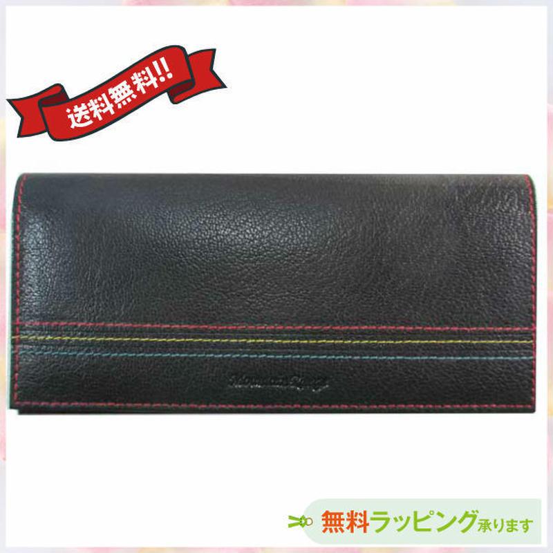 長財布 レディース ブラック日本製 本革 薄型 送料無料 9012