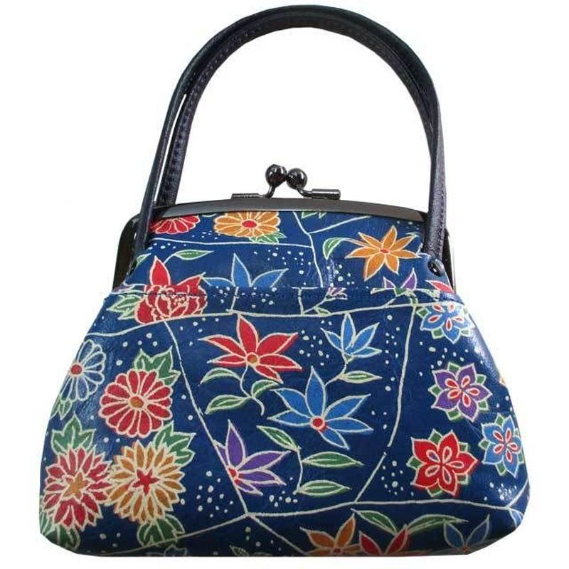 がま口財布 ブルー ハンドル付き 牛革レザー ろうけつ染め 花柄 日本製 ハンドメイド 9044
