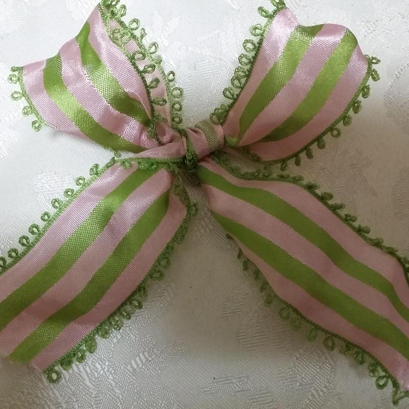 フランス製りぼん ピンクグリーンストライプ 1メートル