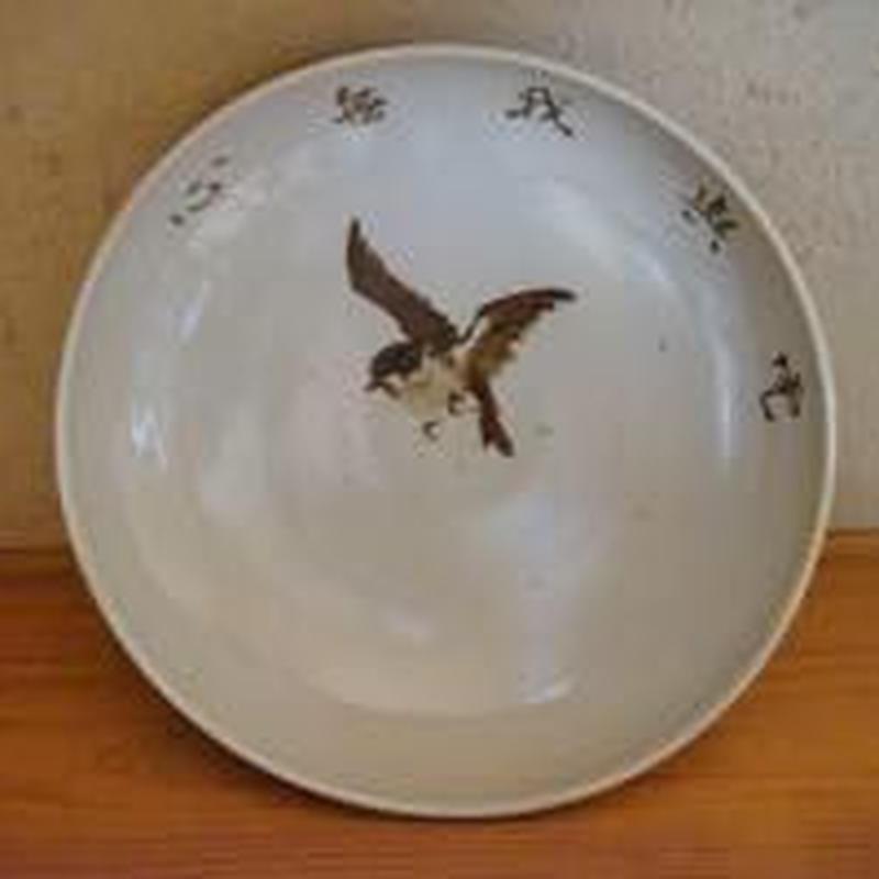 【大皿】祝い絵皿すずめ