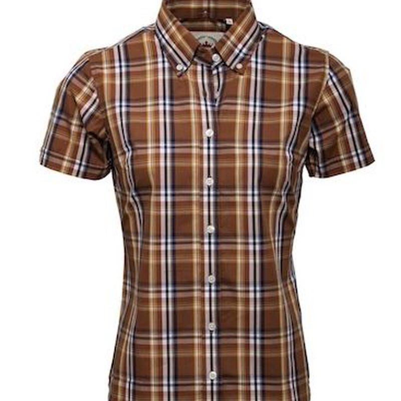 RELCO LADIES BROWN CHECK SHIRT