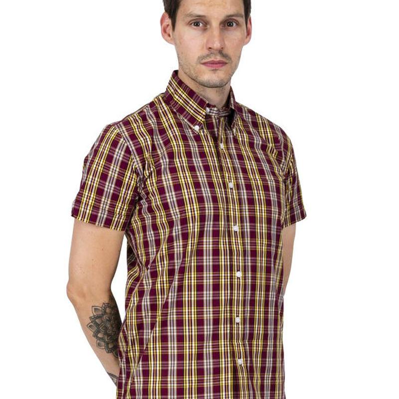 RELCO S/S チェック ボタンダウンシャツ〈バーガンディ〉