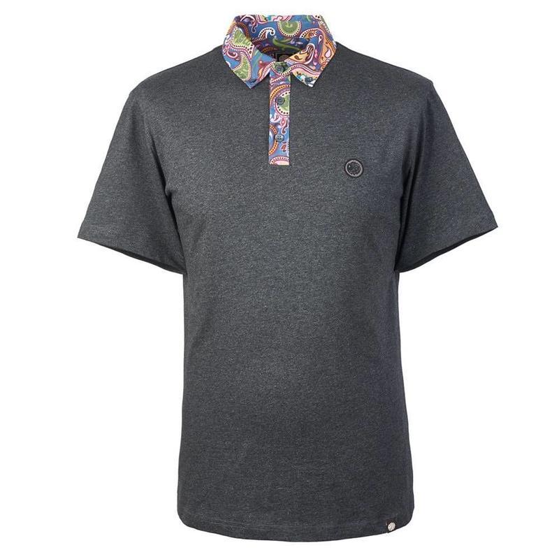 プリティーグリーン SS ROSLER ペイズリープリントカラー ポロシャツ