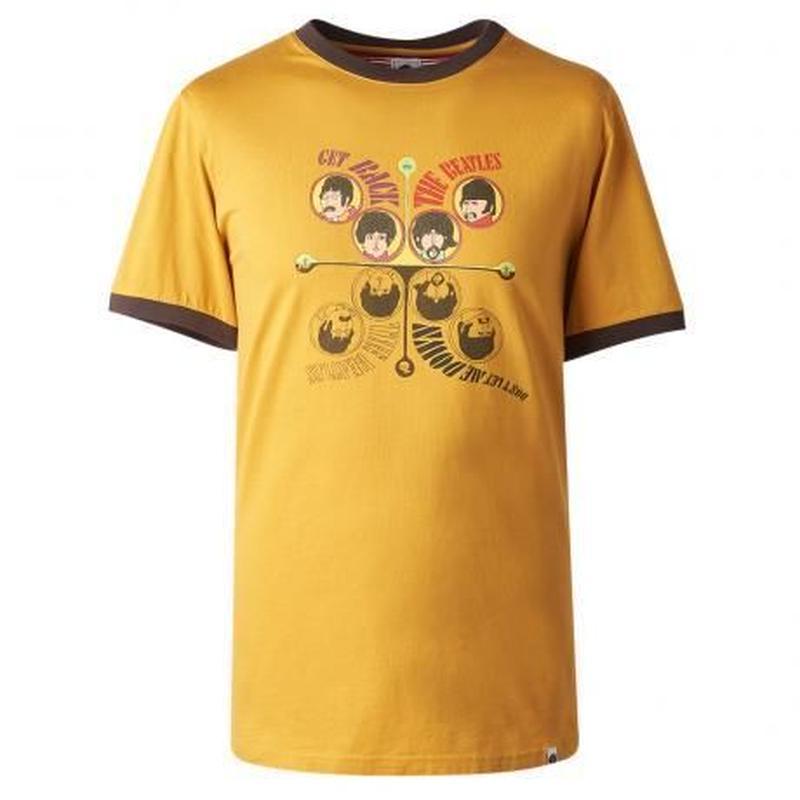 プリティーグリーン SGT. SS GET BACK プリント クルーネック Tシャツ(イエロー)