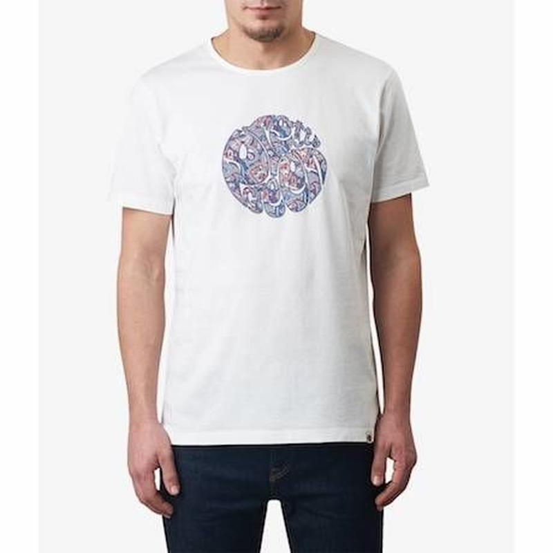 プリティーグリーンアップリケロゴクルーネックTシャツ(ホワイト)