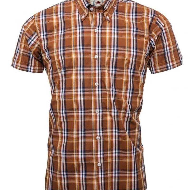 RELCO S/S チェック ボタンダウンシャツ〈ブラウン〉