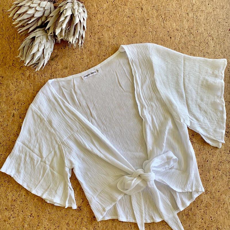 Crinkle Tie Top / White
