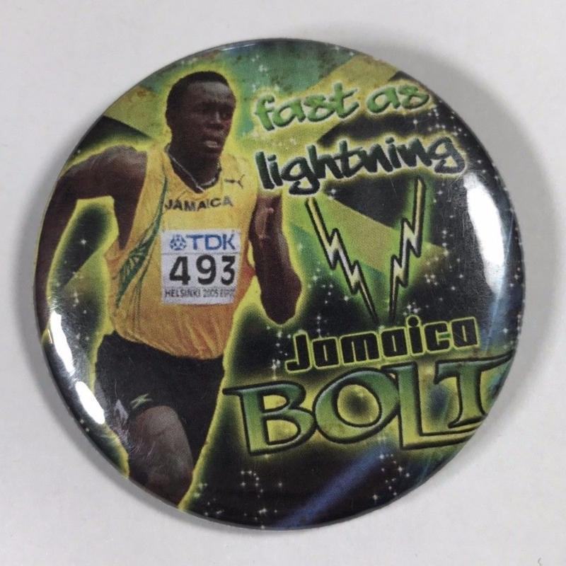ジャマイカ直輸入 USAIN BOLT 缶バッチ