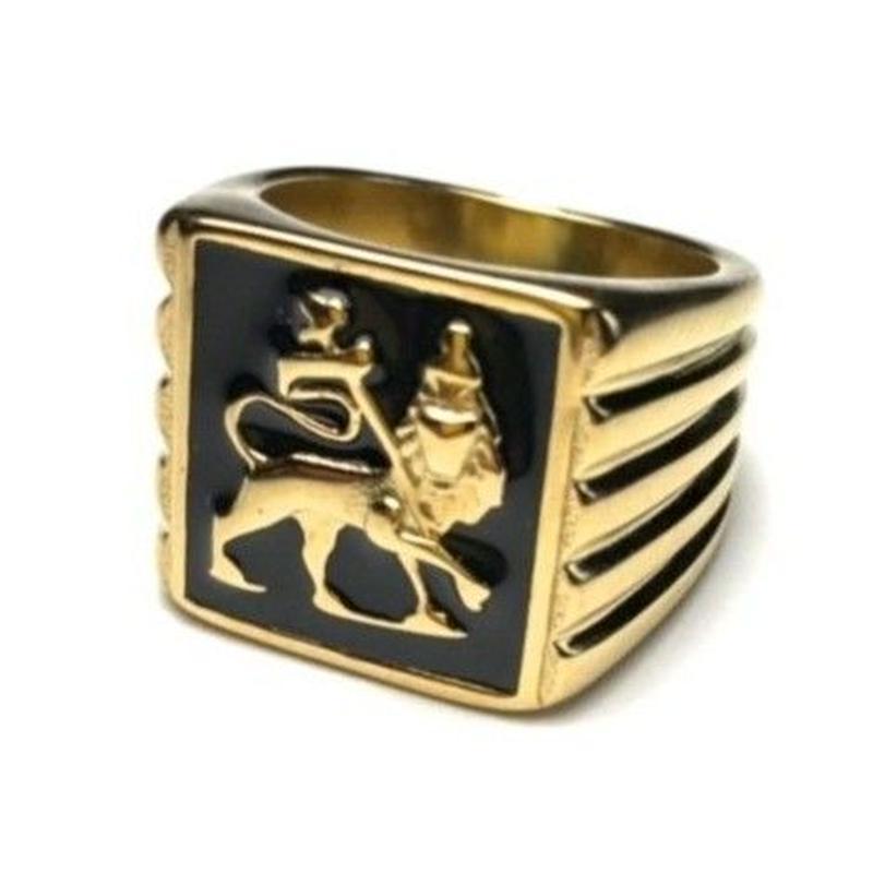 海外直輸入!ラスタ「LION RING(ライオンリング)」GOLD