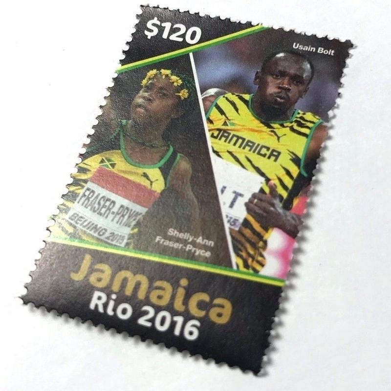 ジャマイカ直輸入  レア  USAIN BOLT & SHELLY ANN FRASER 2016年 限定切手