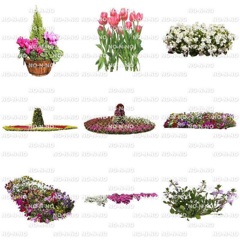 花の切り抜き素材 9個セット F_016