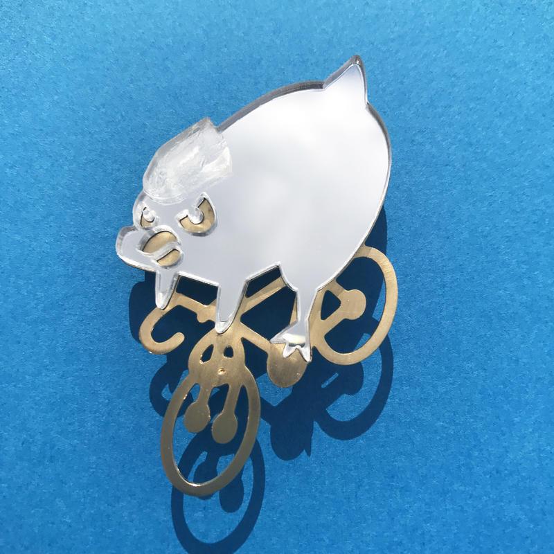 Reflector brooch Down hill bird -Silver & Gold-