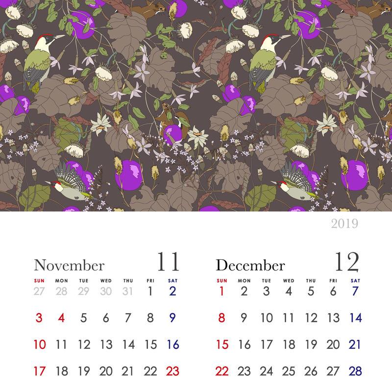 2019カレンダー 11月12月ページ通常ダウンロード版 (最大A4サイズ)