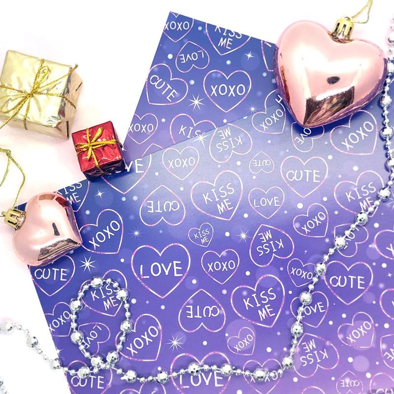 №34 Xmas purple hearts