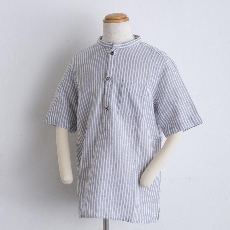 麻 スタンドカラー shirts(100cm,120cm)ストライプ