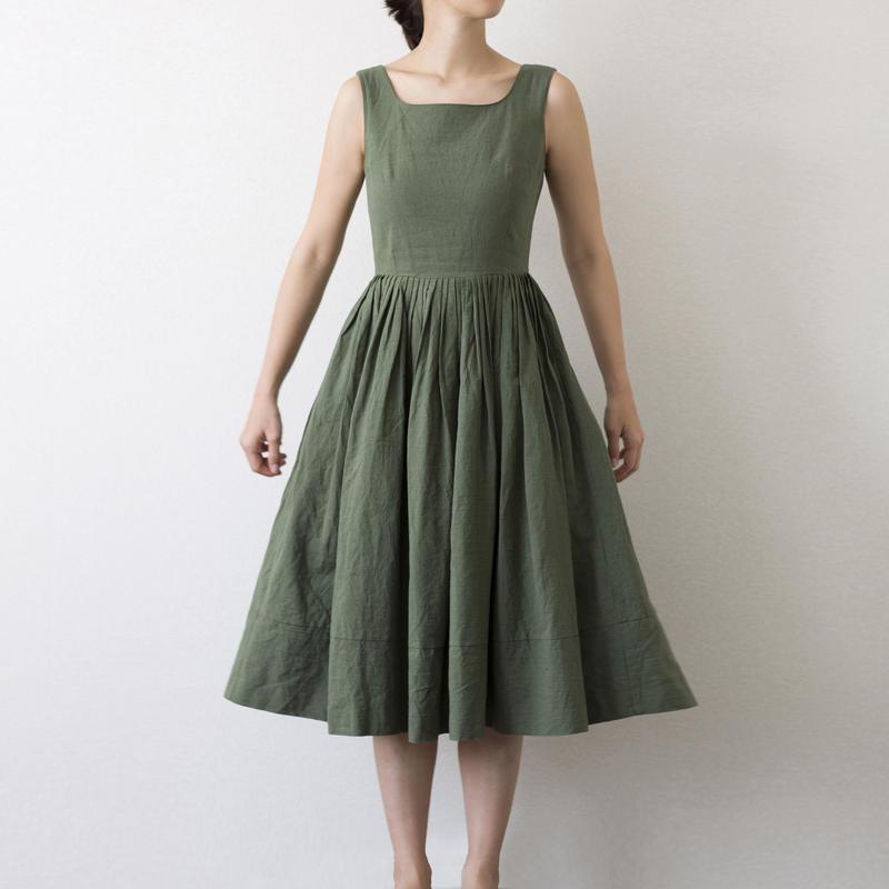 mama dress(カーキ)2017SS018