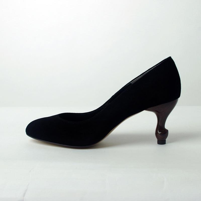 【幅広め】猫脚7cmヒールパンプス スエード本革ブラック