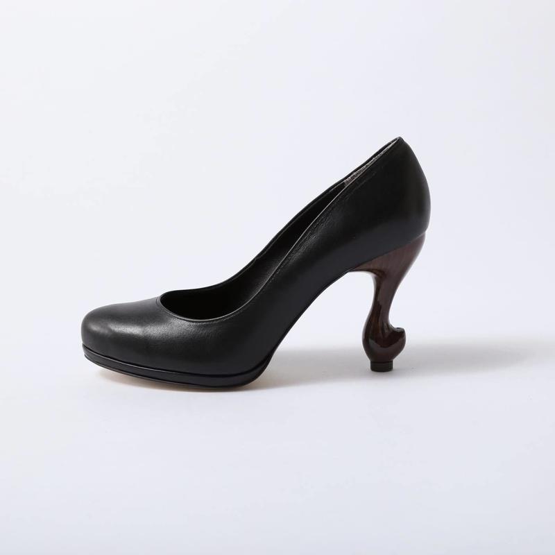 猫脚9cmプレーンパンプス**スムース本革ブラック**22.0・25.0