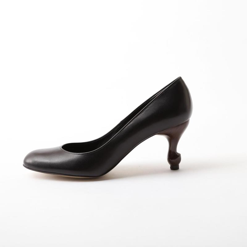 猫脚7cmヒールパンプス スムース本革BLACK