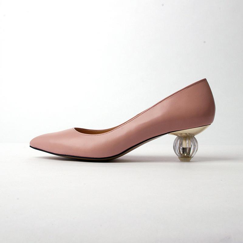 ポインテッドパフュームパンプス スムース本革ピンク