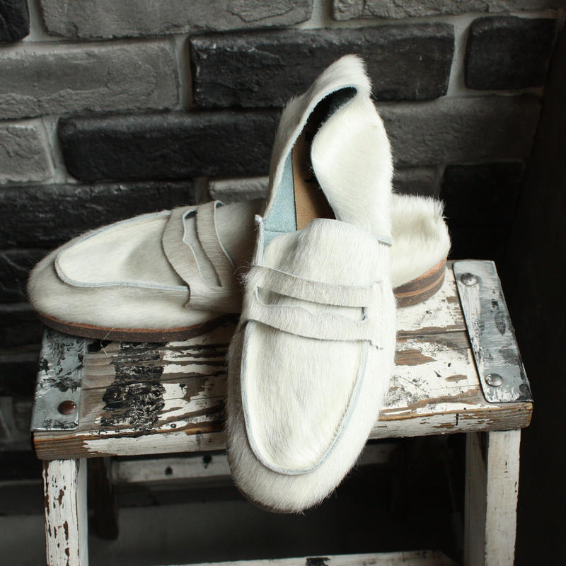 【OUTLET】LOAFER  COW  HAIR  WHITE(SIZE 7)