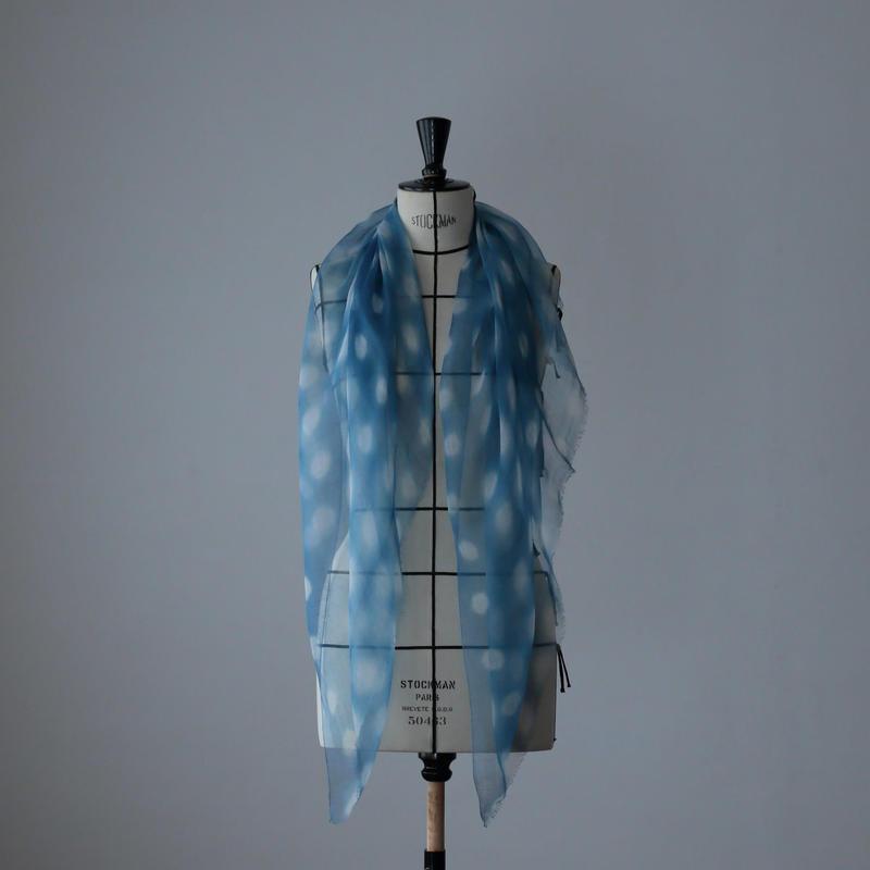 麻の正藍染ストール 蛍絞り(小)