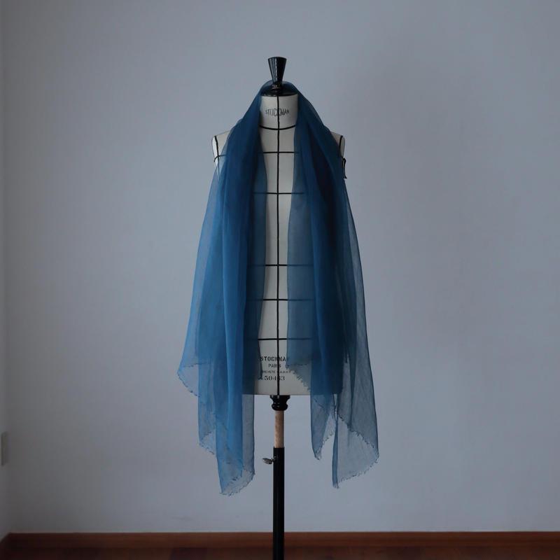 麻の正藍染ストール 紺色 (大)