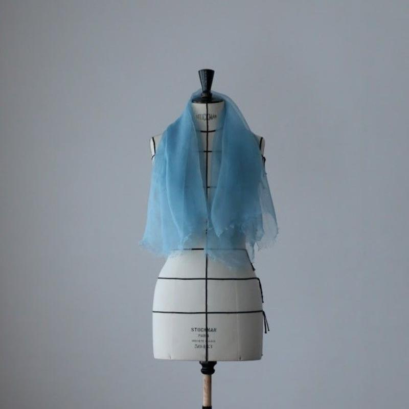 麻の正藍染ストール 空色 (小)