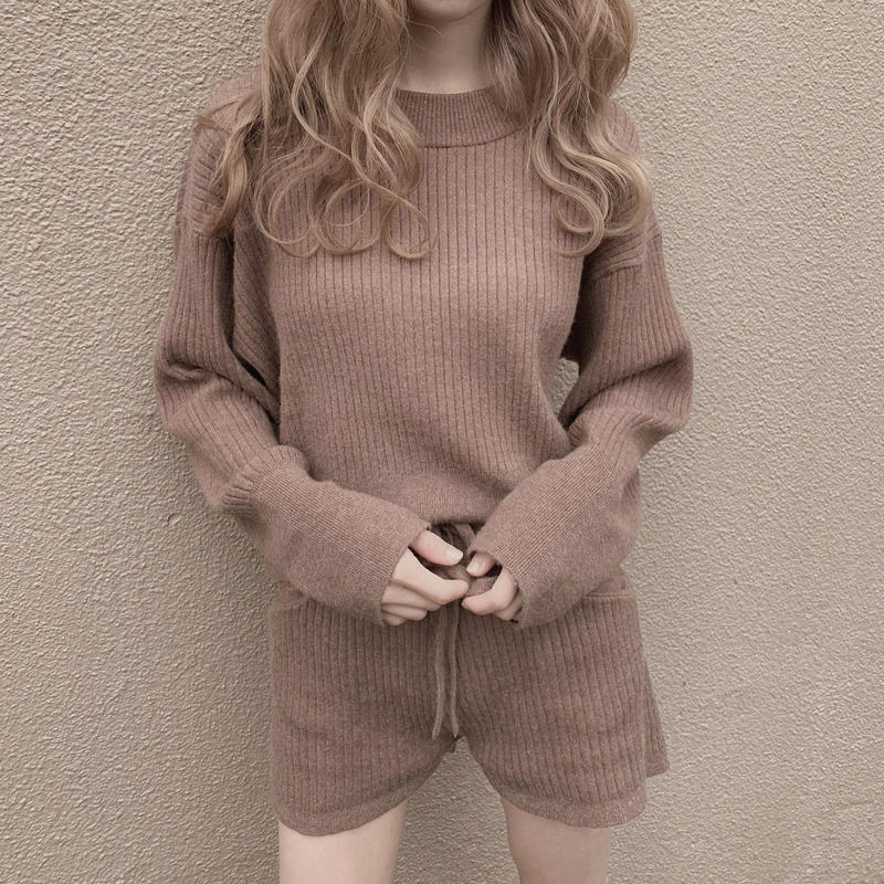 lib knit set up tops /  Mocha